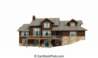 3d House spinning - 3d model of residential house isolated ...