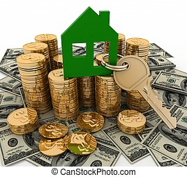 3d house symbol with key on Pile of money