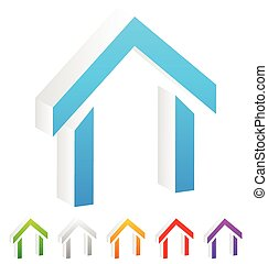 3d House symbols, icons in more colors.