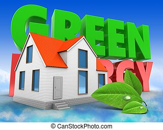 3d house with green energy sign
