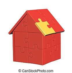 3d house with of parts of a puzzle