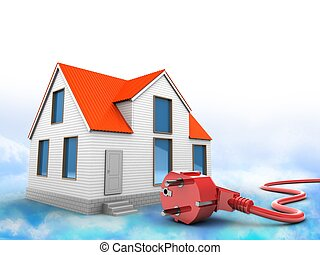 3d house with power cord
