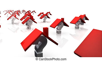 3d house with question marks in HD format