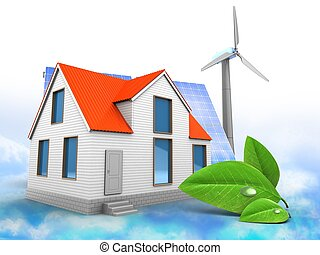3d house with solar and wind energy