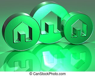 3D Houses Green Sign