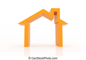 3d houses with growing up graph. Real estate concept.