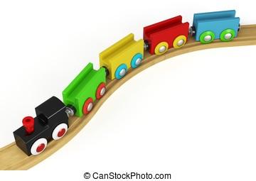 3d, houten speelgoed, trein