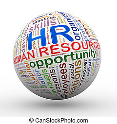 3d HR human resources wordcloud tags ball - 3d illustration...
