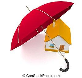 3d, huis veiligheid, concept