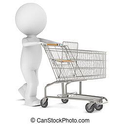 3d, humain, caractère, à, une, vide, chariot achats