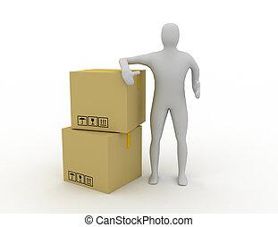 3d, humain, expédition, paquet