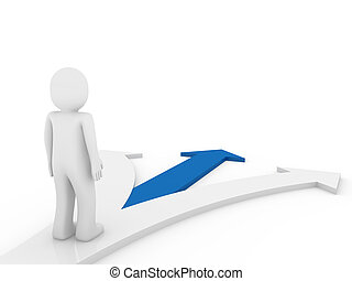 3d human arrow direction way blue isolated white background