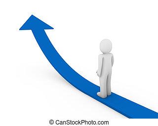 3d human arrow success growth blue