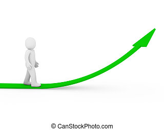 3d human arrow success growth green