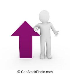 3d human arrow success pink purple  high business