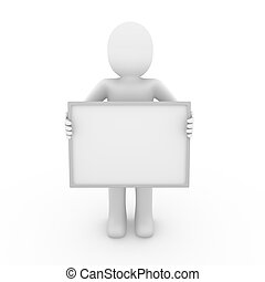 3d human billboard blank hand isolated white background