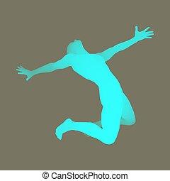 3D Human Body Model. Man kneeling. Vector Illustration.