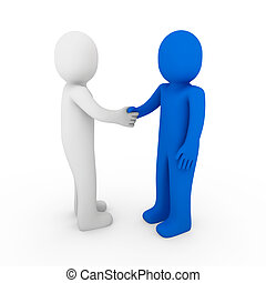 3d human business handshake teamwork white background