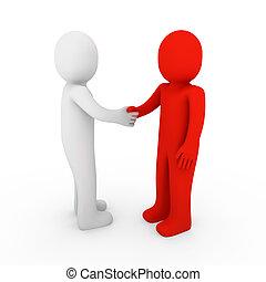 3d human business handshake red hello white teamwork