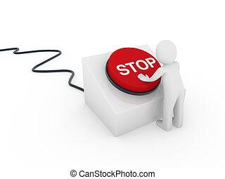 3d human button stop