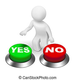 "3d human character choosing between ""yes""or ""no"""