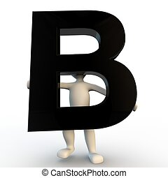 3D Human character holding black letter B, small people