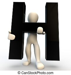 3D Human character holding black letter H, small people