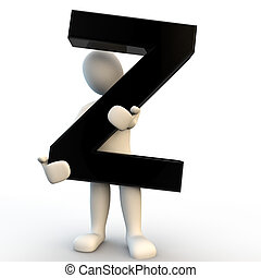 3D Human character holding black letter Z, small people