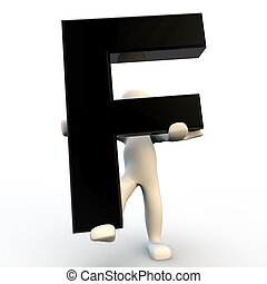 3D Human character holding black letter F, small people