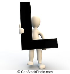 3D Human character holding black letter L, small people