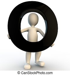 3D Human character holding black letter O, small people