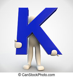 3D human character holding blue letter K