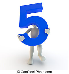 3D Human character holding blue number five