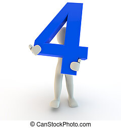 3D Human character holding blue number four