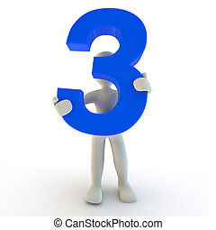 3D Human character holding blue number three
