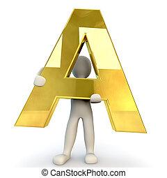 3D Human character holding golden alphabet letter A