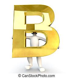 3D Human character holding golden alphabet letter B