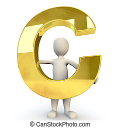 3D Human character holding golden alphabet letter C