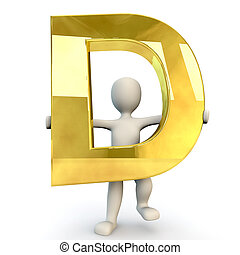 3D Human character holding golden alphabet letter D