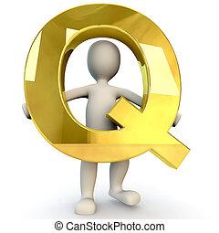 3D Human character holding golden alphabet letter Q, 3d ...