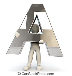 3D Human character holding silver letter A