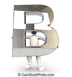 3D Human character holding silver letter B