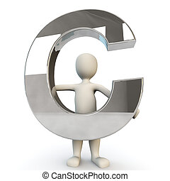 3D Human character holding silver letter C