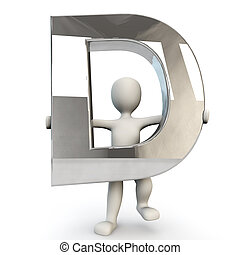 3D Human character holding silver letter D