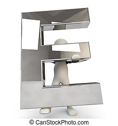 3D Human character holding silver letter E