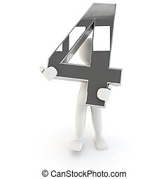 3D Human character holding silver number four
