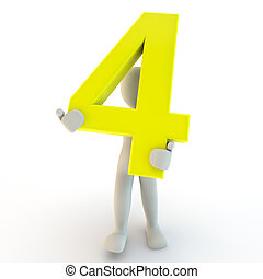 3D Human character holding yellow number four, small people