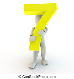 3D Human character holding yellow number seven, small people