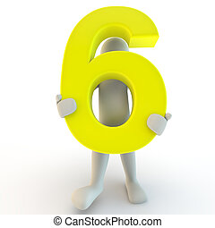 3D Human character holding yellow number six, small people