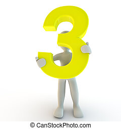 3D Human character holding yellow number three, small people